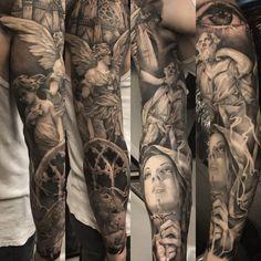 Ruben Riksfjord working in Copenhagen The studio named Mik´s Tattoo is a very o. - Ruben Riksfjord working in Copenhagen The studio named Mik´s Tattoo is a very old and established - Arm Tattoos For Guys, Leg Tattoos, Black Tattoos, Body Art Tattoos, Tribal Tattoos, Angel Tattoo Designs, Tattoo Sleeve Designs, Tattoo Designs Men, Religious Tattoo Sleeves