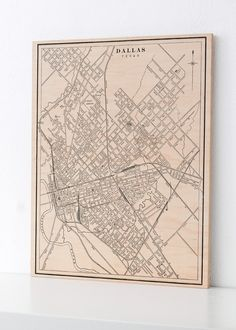 Dallas Texas Wood Print Map Home Decor Map Art by DesignOutfitters