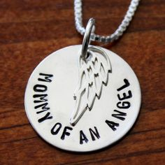 "This ""Mommy of an Angel"" necklace is a great sympathy and memorial jewelry gift for yourself or someone grieving the loss of an infant, chil..."