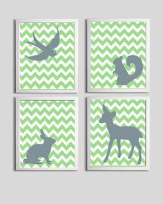 Nursery Art Boy Forest Animals Chevron Green Grey set of 4 each 11x14. $56.00, via Etsy.