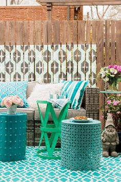 Wooden Fence With Painted Graphic Pattern >> http://www.hgtv.com/design-blog/outdoors/spruce-up-outdoor-spaces-for-spring?soc=pinterest