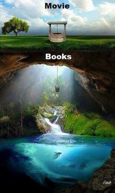 "I would say this is accurate. Movies like ""the Hobbit"", ""Narnia"", and the first hunger games movie are rare exceptions to the stigma that movie adaptations of books are bad. The worst film adaptation of a book in my opinion is the "" Percy Jackson"" movie. I Love Books, Good Books, Books To Read, My Books, Books Vs Movies, Watch Movies, Book Memes, Book Fandoms, Book Of Life"