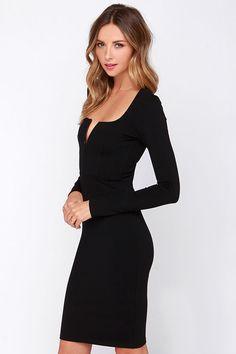 LULUS Exclusive Chic and Loving It Black Midi Dress at Lulus.com!