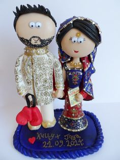 Indian, Pakistani, Asian Bride & Groom figurines, personalised cake toppers that last a lifetime. Handmade to look like the couple getting married, NOT edible, last a lifetime, any outfits/poses you want. I send anywhere in the World. Something like this would be £149.99 for the couple and £9.99 for the base. #indianwedding #indianbride #weddings
