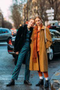Paris FW 2018 Street Style: Kiki Willems and Rianne Van Rompaey