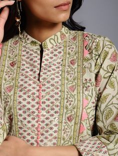 Buy Beige Block-printed Cotton Kurta with Gota Work Online at Jaypore.com Collar Kurti Design, Kurta Neck Design, Saree Blouse Neck Designs, Dress Neck Designs, Shirt Style Kurti, Printed Kurti Designs, Pakistani Fashion Party Wear, Kurta Patterns, Neck Designs For Suits