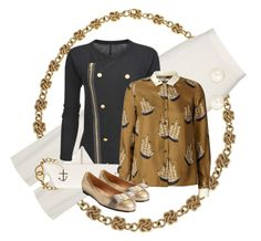 """""""Victorious Fleet"""" by halebugg ❤ liked on Polyvore featuring Cartier, Reiss, Shaun Leane, Crumpet, Moschino Cheap & Chic, Orla Kiely, Salvatore Ferragamo, Alexis Bittar, Finesse and metallic flats"""