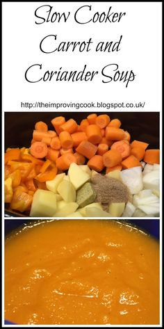 This recipe is for Slow Cooker Carrot and Coriander Soup. Carrot and coriander is a classic flavour combination that works beautifully; the sweetness of the carrot and the spice of the coriander are perfect.