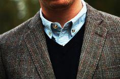 Blue collar shirt