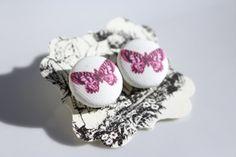 Pink Fuchsia   Butterfly Earrings by KrashaunArts on Etsy, $8.50