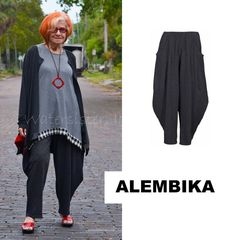ALEMBIKA P414 Lagenlook Cotton DOREEN PANT Artsy 1 2 3 4 5 6 7 8 BLACK PINSTRIPE #ALEMBIKA #ArtsyRidingBalloonPant