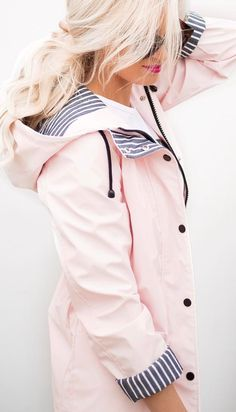 Such a cute raincoat! Love the color and striped accents. Pink raincoat, stitch fix wants, love the blush color Pink Raincoat, Raincoat Outfit, Look Fashion, Spring Fashion, Winter Fashion, Womens Fashion, Trendy Fashion, Classy Fashion, Street Fashion