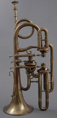 Front view of NMM 7063.  Cornopean by John Koehler, London, ca. 1843.