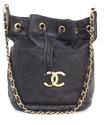 bc337db180e6 Black leather drawstring bucket bag Sale - Chanel Sale Chloe Handbags,  Handbags On Sale,