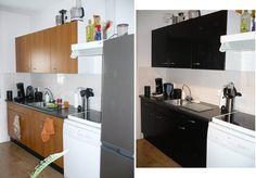 Je keuken zat? Maar geen geld voor een nieuwe? Gewoon je kastjes bekleden met plakfolie (en eventueel de greepjes vervangen) en je hebt een compleet andere keuken! Ik ben blij met het resultaat :D Home Budget, Own Home, Home Renovation, My Dream Home, Diys, Sweet Home, Kitchen Cabinets, Diy Art, Organizing
