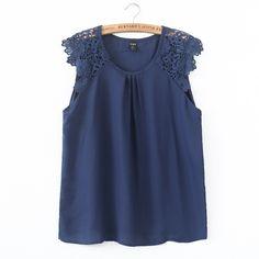 Mulheres verão rendas blusas de chiffon de manga O pescoço camisa sem mangas blusa feminina tops casual de grife marca fino ST1999