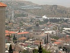 View of Nazareth, with the Basilica of the Annunciation at the center Fall Of Jerusalem, Kingdom Of Jerusalem, Basilica Of The Annunciation, Jewish Temple, University Of Reading, Gospel Of Luke, Agricultural Practices, Town Names, Holy Land