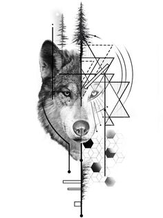 Wolf Tattoos 74876 half-realistic-wolf-drawing-geometric-with-christmas-trees-silhouettes-in-the-center-idea-original-drawing Geometric Wolf Tattoo, Geometric Tattoo Design, Geometric Drawing, Geometric Face, Wolf Tattoo Design, Tattoo Designs, Tattoo Ideas, Face Tattoos For Women, Wolf Tattoos Men