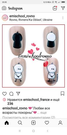 Cartoon Nail Designs, Nail Art Designs, Love Nails, Fun Nails, Holiday Nails, Simple Nails, Nailart, Valentines Day, Nail Art