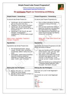 Simple Present oder Present Progressive - Arbeitsblätter mit Lösungen