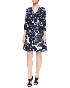 Giant Floral-Print Wrap Dress, Multi Colors - Diane von Furstenberg