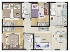 Plantas de Casas com 3 Quartos: 60 Projetos House Layout Plans, My House Plans, Modern House Plans, Small House Plans, House Layouts, House Floor Plans, Sims 4 House Design, Small House Design, Cool House Designs