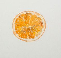 Orange Segment Still Life by Sian Dudley in #watercolours coming soon to ArtTutor.com