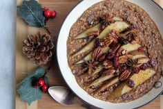 Baked Spiced Pear & Cranberry Oats - Linwoods. Gluten-free, dairy-free, no refined sugar.
