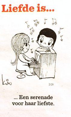 Liefde is... Een serenade voor haar liefste.