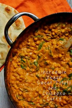 Incredibly Good Vegan Sweet Potato and Chickpea Curry - Everybody should be eating more plants, and this incredible sweet potato and chickpea curry is the - Chickpea Recipes, Veggie Recipes, Indian Food Recipes, Whole Food Recipes, Vegetarian Recipes, Cooking Recipes, Healthy Recipes, Cooking Ideas, Gourmet