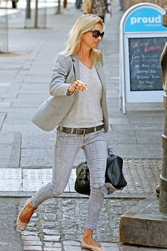 Gray on gray with nude/blush flats