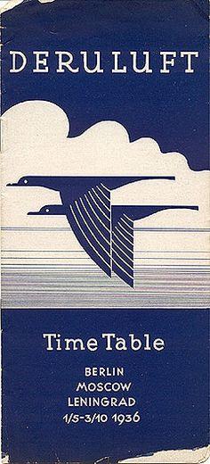 DERULUFT Time Table Berlin-Moscow-Leningrad 1/5 - 3/10 1936. | travelbrochuregraphics.com [collection of vintage travel brochures]