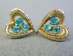 Coro Earrings Vintage Screw Back Heart Shape Openwork Aqua Marine Blue Rhinestones