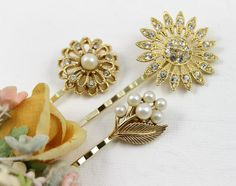 Vintage Jeweled Bobby Pins Set 3  Gold Pearls by myboutiquebijou, $32.50