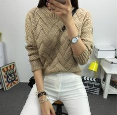 Quality Women Fashion 2018 Spring Sweaters Basic Casual Knitting Winter Pullover Female Warm Gray/Khaki Sweater Twist with free worldwide shipping on AliExpress Mobile Pullover Outfit, Cardigan Fashion, Sweater Outfits, Mohair Sweater, Loose Sweater, Sweater Cardigan, Jumpers For Women, Sweaters For Women, Warm Sweaters
