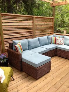 Wooden Porch Privacy Design For Backyard. Porch Privacy, Garden Privacy Screen, Outdoor Privacy, Outdoor Balcony, Privacy Fences, Outdoor Spaces, Outdoor Living, Privacy Wall On Deck, Privacy Screens