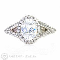 THIS IS THE ONE FOR SURE  Oval Split Shank Diamond Halo Semi Mount Engagement by RareEarth