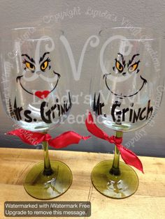 Hey, I found this really awesome Etsy listing at https://www.etsy.com/listing/211967372/mr-and-mrs-grinch-wine-glass-set