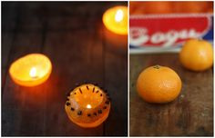 Clementine Candle. Tutorial: How to make natural candles from clementines. #clementine #candle #orange