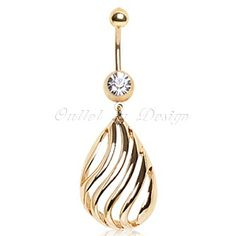 Gold Plated Navel Ring with Kisses Shpaed Dangle