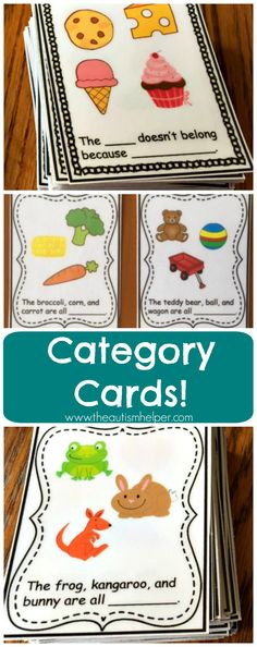 """Need to work on some categorization skills?  Check out these Category Cards! The set contains 72 """"Name that Category"""" cards and 72 """"What Doesn't Belong"""" cards. From theautismhelper.com"""