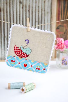 Minki Kim from Minki's Work Table stitched up this adorable coaster using a pattern from the new book Sweet Tweets for her participation a fun blog hop!   To read more please visit http://www.minkikim.com/?p=3339