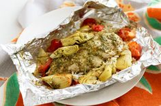 Foil-pack:  ChIcken and artichoke with rice. I would only use 1/2 the pesto or leave it out all together. This stuff is seriously the bomb-digity!!