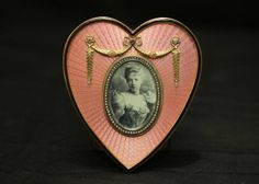"""Michael Perchin (1860-1897) Faberge picture frame with diamonds and precious stone placed throughout possibly ruby, side of frame marked with the Faberge mark """"MN"""" """"56"""" 3.5""""x4""""T. in original Faberge box."""