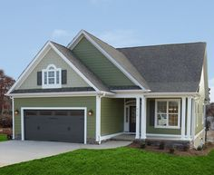 Exterior colors paint colors and house plans on pinterest for Narrow lot house plans with front entry garage