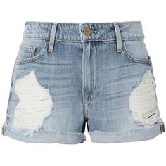 FRAME Women's Le Grand Garcon Destroyed Jean Shorts found on Polyvore featuring shorts, bottoms, short, denim, jeans, ripped shorts, destroyed denim shorts, light blue jean shorts, denim short shorts and distressed jean shorts