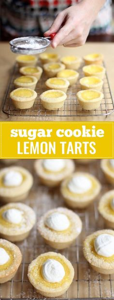 Sugar Cookie Lemon Tarts- No finicky pastry crusts for these little beauties. Use a simple cookie dough for the shell and fill it with a perfectly sweet and sour lemon filling. (desserts with cookie dough cheesecake bars) Mini Desserts, Lemon Desserts, Lemon Recipes, Plated Desserts, Spanish Desserts, Custard Desserts, Protein Desserts, Light Desserts, Indian Desserts