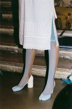 Margiela runway two tone tights and toe shoes, beautiful pale blues and lace and sheer colors Tabi Shoes, Ugly Shoes, Sock Shoes, Fashion Brands, High Fashion, Fashion Shoes, Womens Fashion, Runway Fashion, Fashion Communication