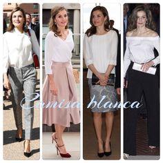 """Una de las """"manías"""" de la Reina es tener en su armario casi 200 camisas/blusas blancas. Este año ha estrenado unas 50 y estas son algunas de ellas: con lazo, cuello barco, escote cruzado..."""