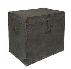 "Rustic Trunk :: $339 | Three Hands @ OneKingsLane.com :: [23.4""w, 15.75""d, 23""h] Metal, distressed black :: Now that's one fabulous industrial trunk! | #industrial #onekingslane #trunk"
